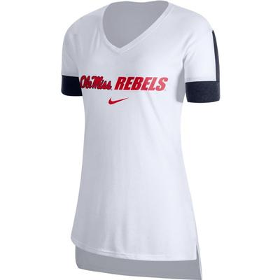 OLE MISS VNECK DRY TOP WHITE