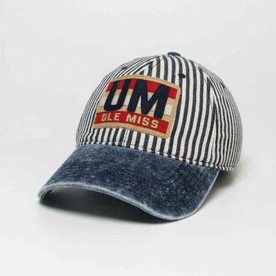 STONE WASHED DENIM STRIPE PATCH CAP NAVY_STRIPE