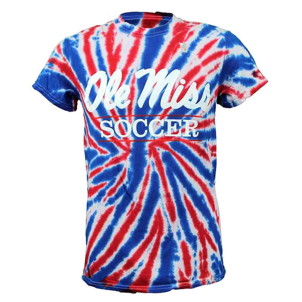 Tie- Dye Ole Miss Soccer Bar Ss T- Shirt