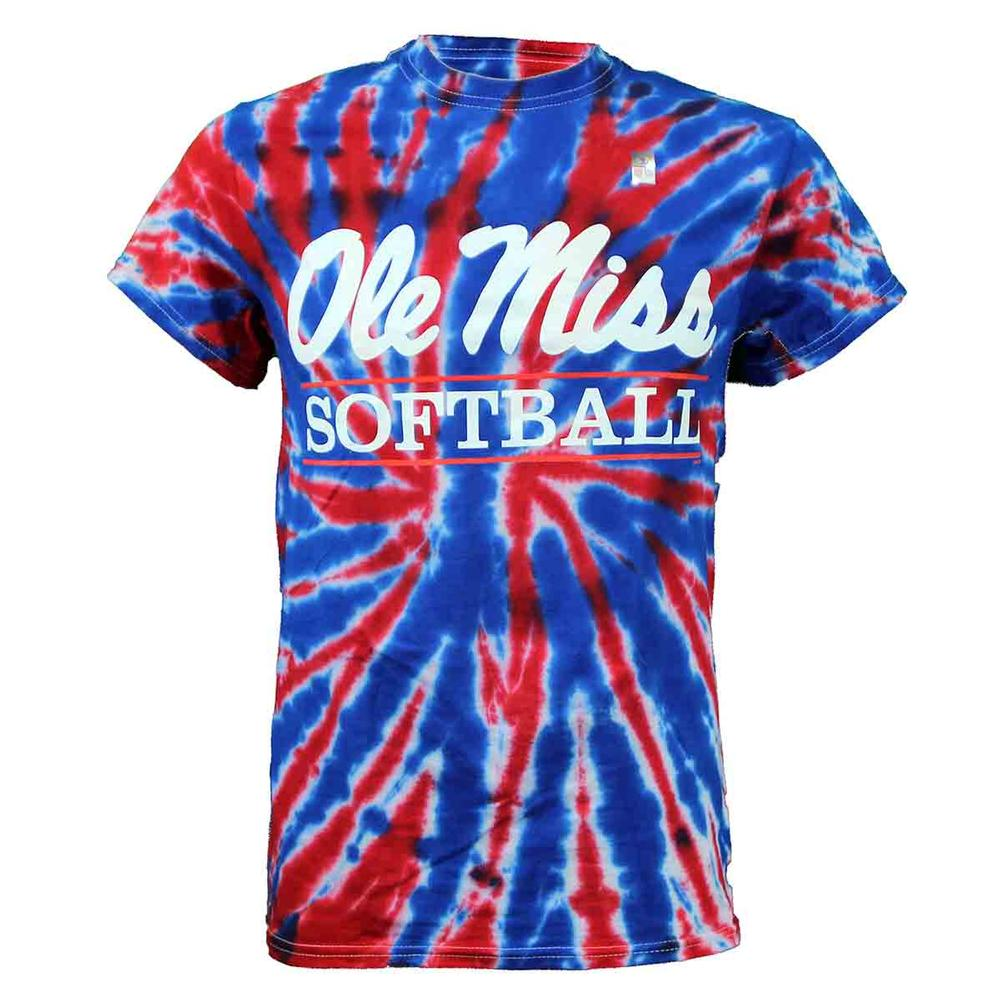 Tie- Dye Ole Miss Softball Bar Ss T- Shirt