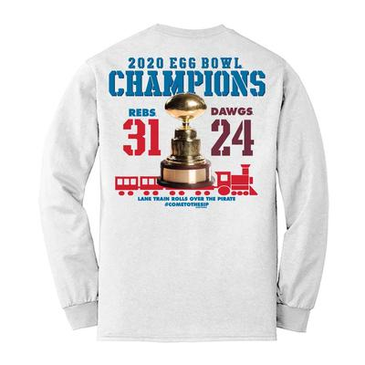 ADULT 2020 EGG BOWL CHAMPIONS LS TEE WHITE