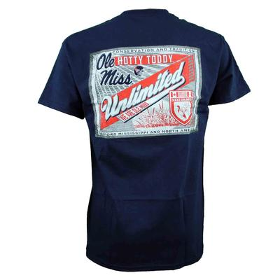 OLE MISS DUCKS UNLIMITED LABEL SS TEE NAVY