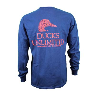 OLE MISS DUCKS UNLIMITED LS TEE NAVY
