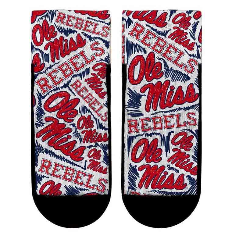Ole Miss Logo Sketch Socks