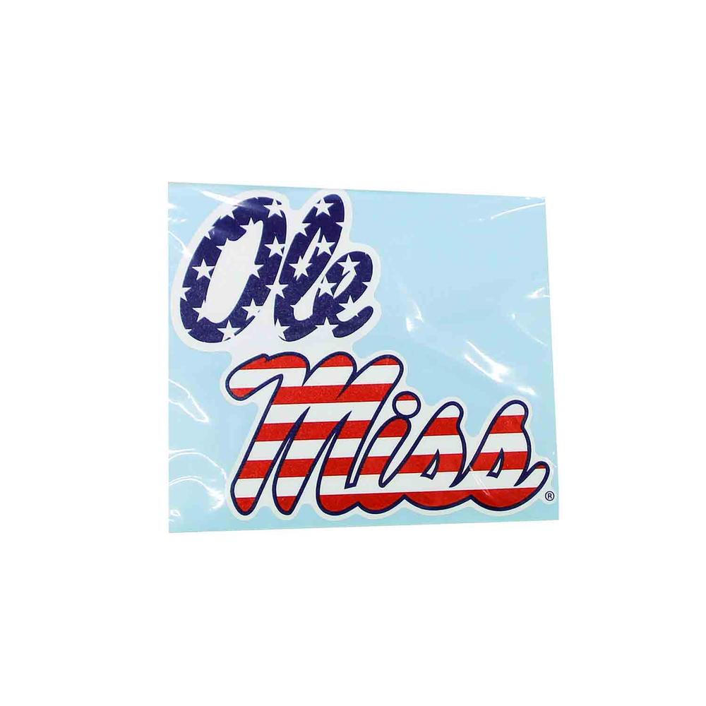 6in Stacked Ole Miss American Flag Decal