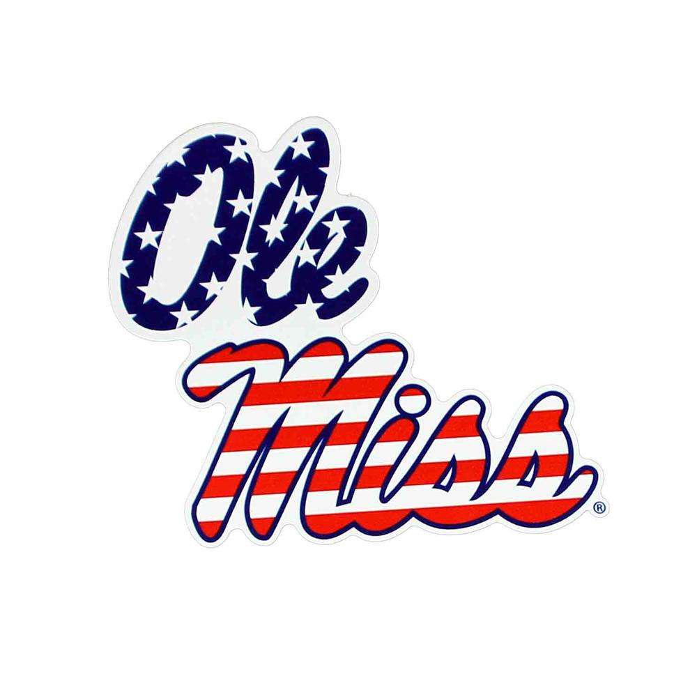 6in Stacked Ole Miss American Flag Magnet