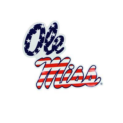 12IN STACKED OLE MISS AMERICAN FLAG MAGNET