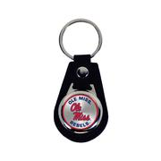 OLE MISS LEATHER TEAR DROP KEYCHAIN