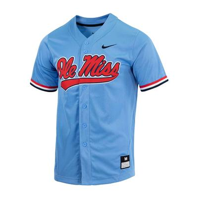 OLE MISS FULL BUTTON BASEBALL JERSEY