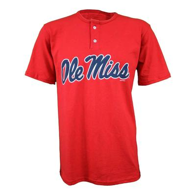 OLE MISS SS BASEBALL HENLEY TEE RED