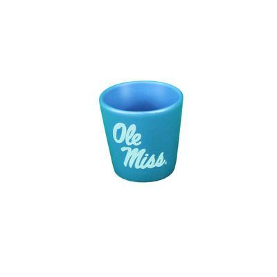 NORTHWOOD CERAMIC OLE MISS SHOT GLASS BLUE