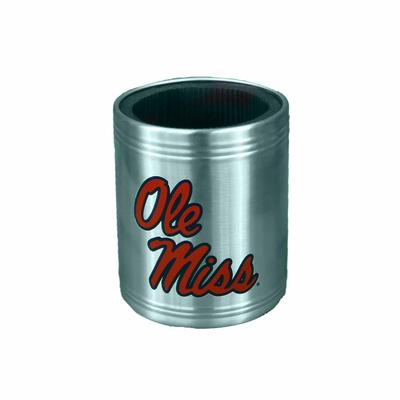 OLE MISS STEEL CAN COOLER SILVER