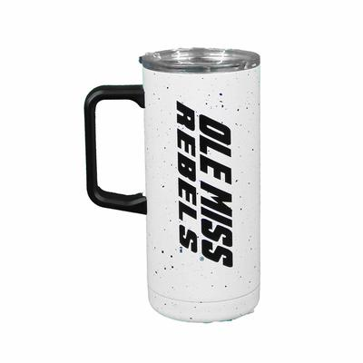 OLE MISS SPECKLED TRAVEL MUG WHITE