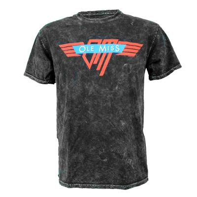 OLE MISS WINGED SS MINERAL WASH TEE