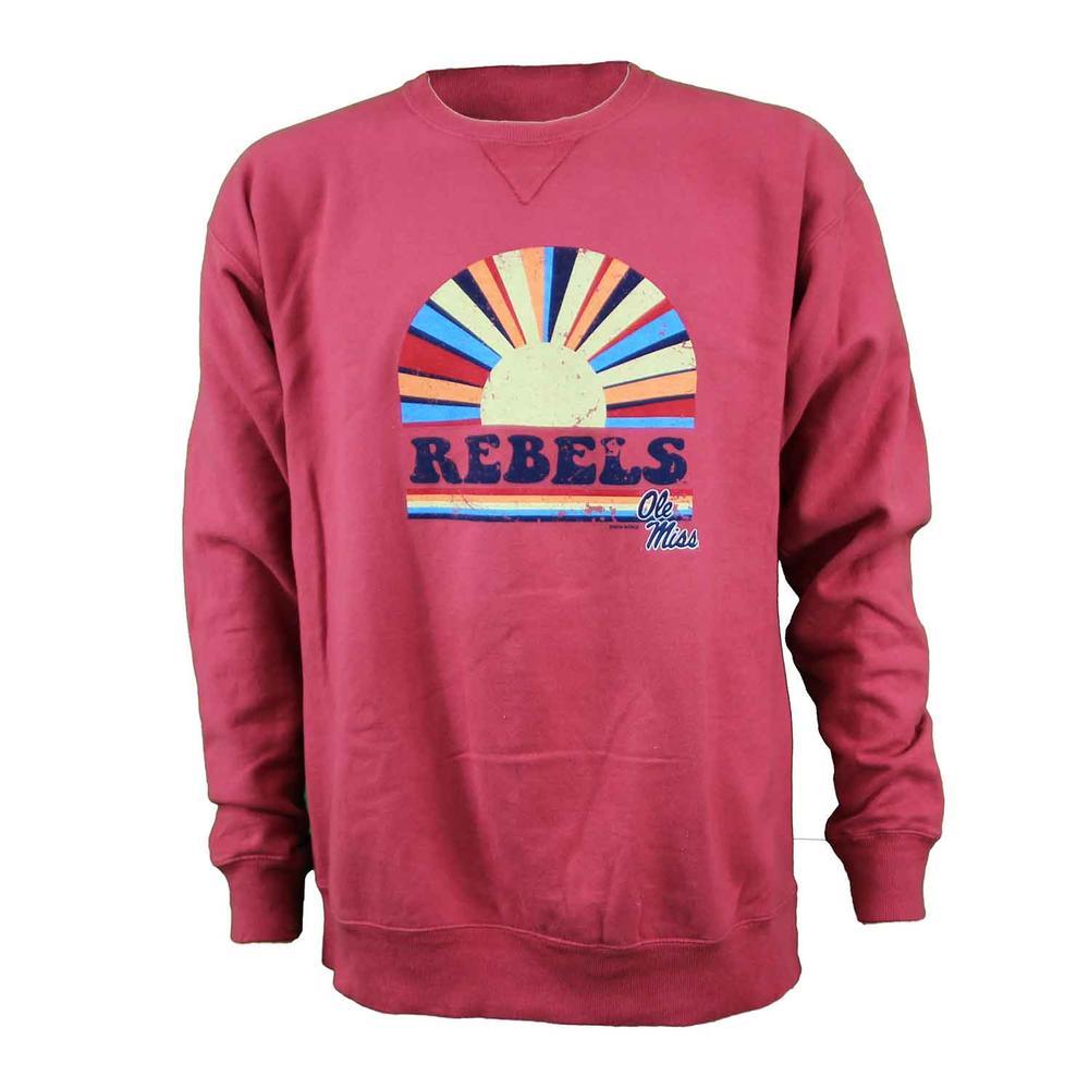 Ole Miss Rebels Crew Rising Sun Comfort Wash Sweatshirt