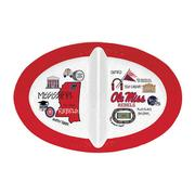OLE MISS 2 SECTION MELAMINE TRAY