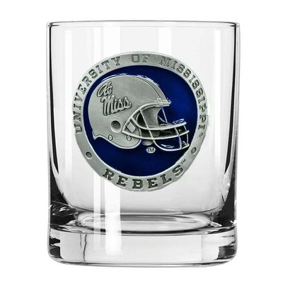 OLE MISS HELMET PEWTER DOUBLE OLD FASHIONED GLASS NAVY