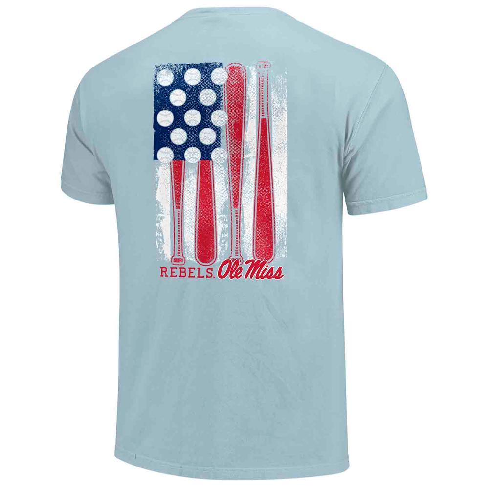 Ole Miss Baseball Flag Comfort Colors Ss Pocket Tee