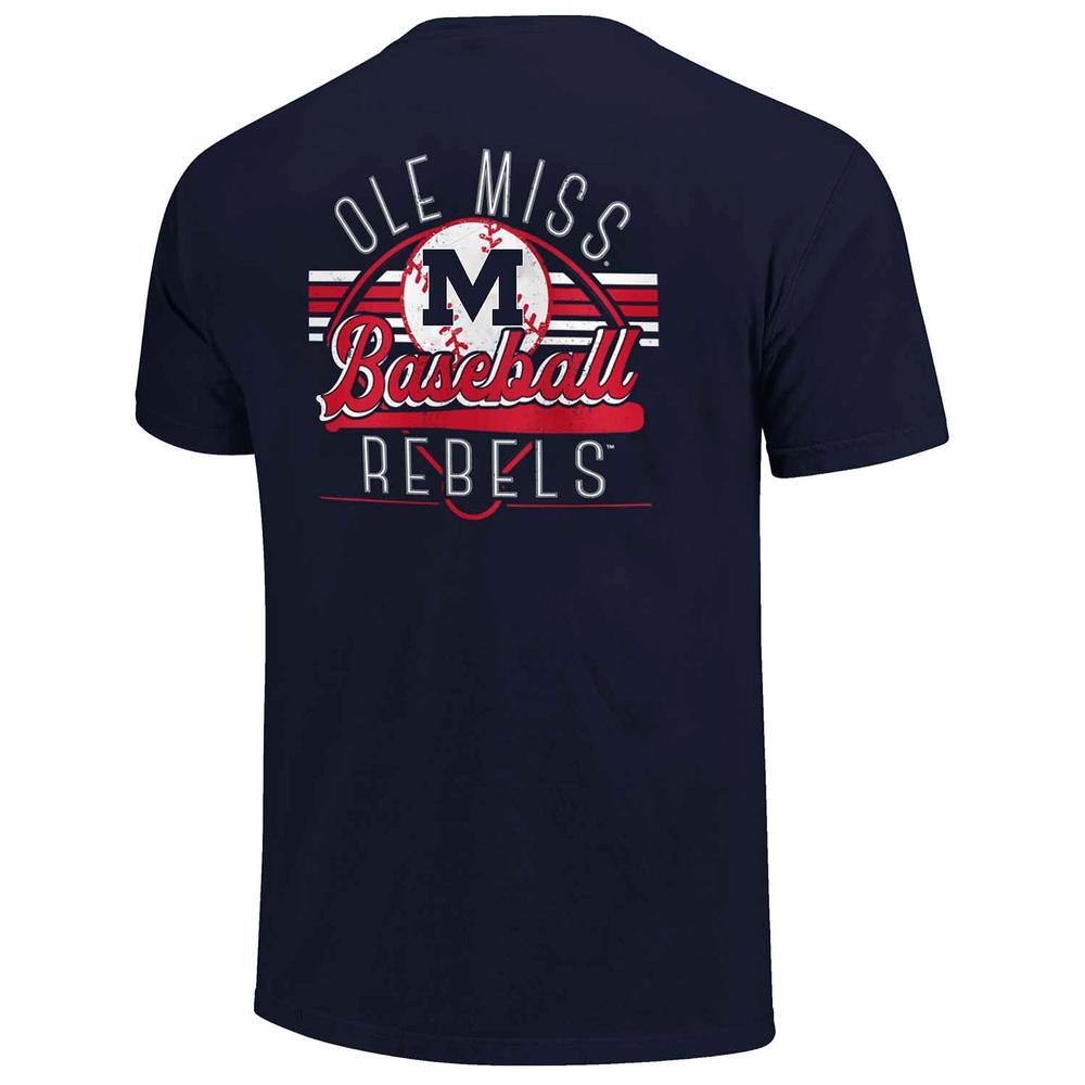 Ole Miss Rebels Baseball Field Stripes Ss Pocket Comfort Colors Tee
