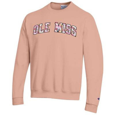 BLOCK OLE MISS WATER COLOR TWILL ECO POWERBLEND CREW BLUSHING_PEACH