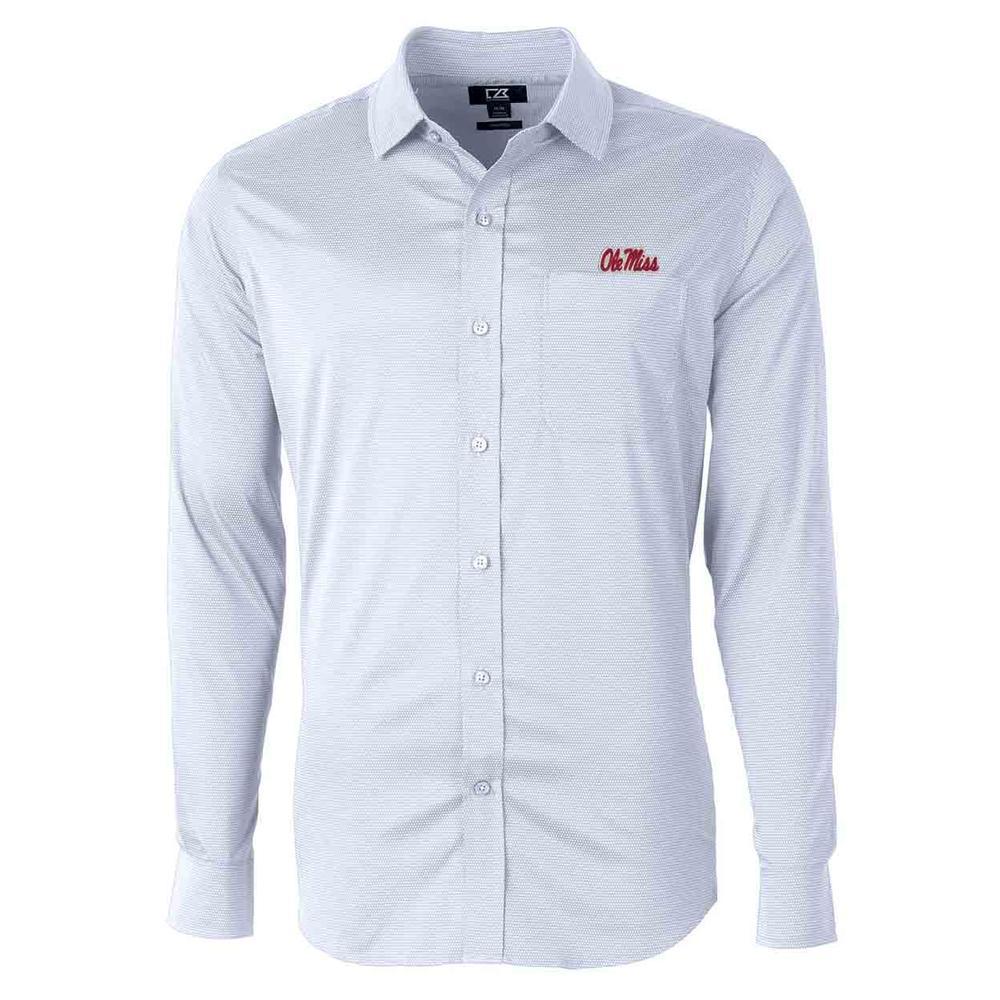 Ole Miss Script Versatech Geo Dobby Ls Woven Shirt