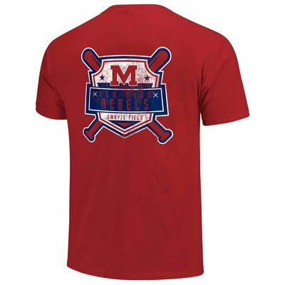 OLE MISS REBELS BASEBALL VINTAGE SHIELD SS COMFORT COLORS TEE