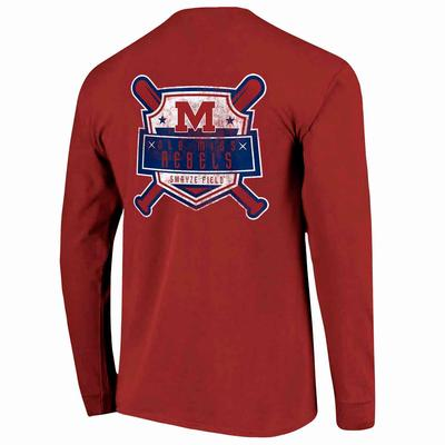 OLE MISS REBELS BASEBALL VINTAGE SHIELD LS COMFORT COLORS TEE RED