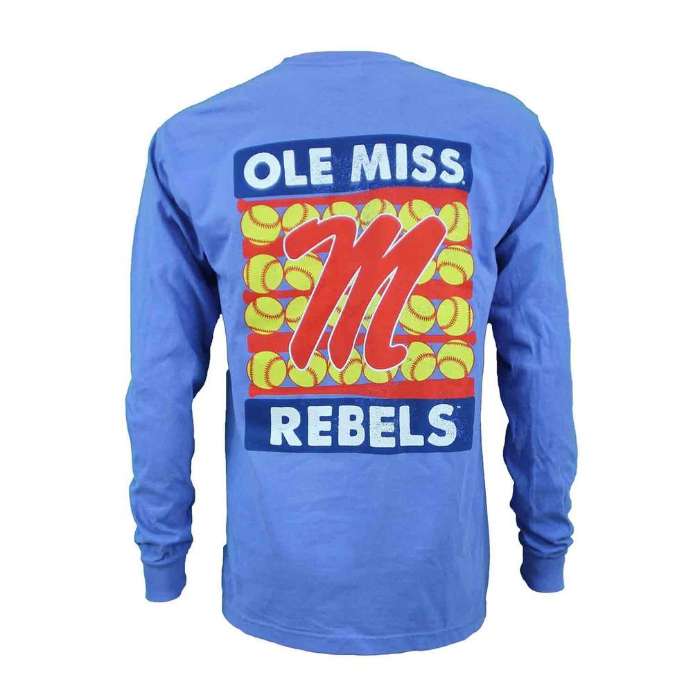 Ole Miss Rebels Softball Stripes Ls Comfort Colors Tee