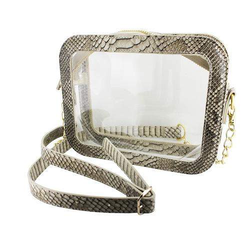 Ole Miss Camera Crossbody Faux Snake Skin Clear Purse