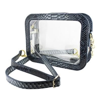 OLE MISS CAMERA CROSSBODY FAUX SNAKE SKIN CLEAR PURSE MIDNIGHT