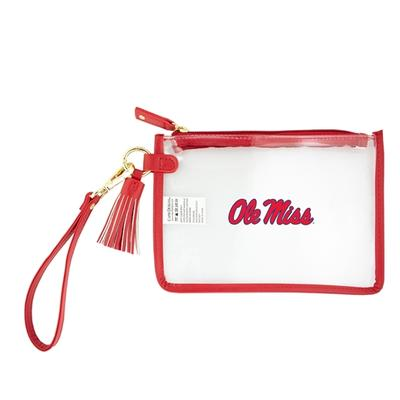 OLE MISS WRISTLET CLEAR PURSE