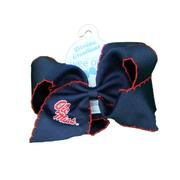 MEDIUM OLE MISS GAME DAY EMBROIDERED BOW