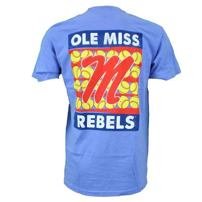 OLE MISS REBELS SOFTBALL STRIPES SS COMFORT COLORS TEE