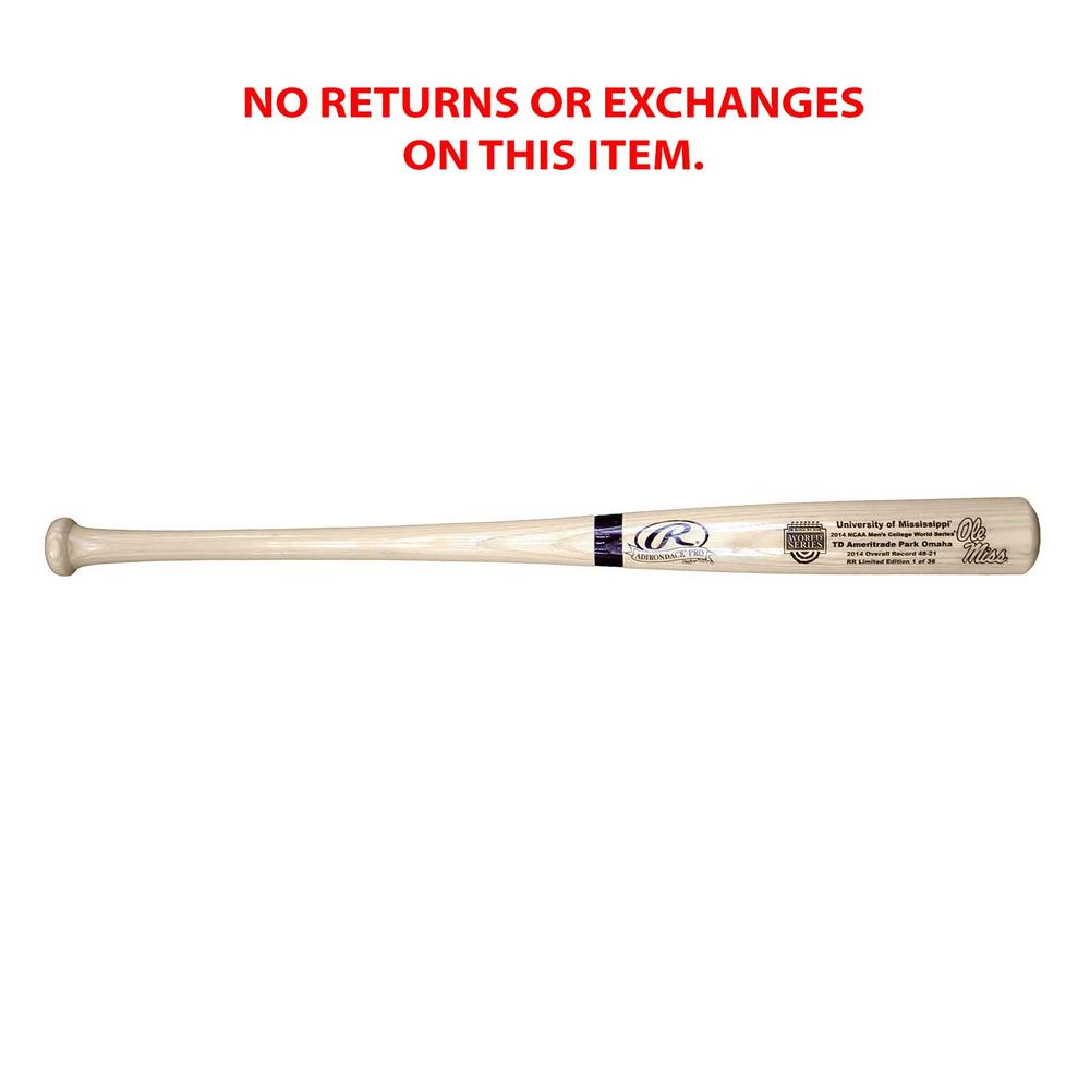 2014 Cws Ole Miss Wood Bat Numbered Of 36