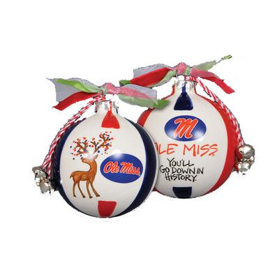 OLE MISS REINDEER ORNAMENT W RIBBON