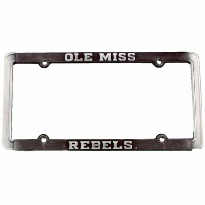 OLE MISS REBELS THIN RIM ANTIQUE PEWTER TAG FRAME