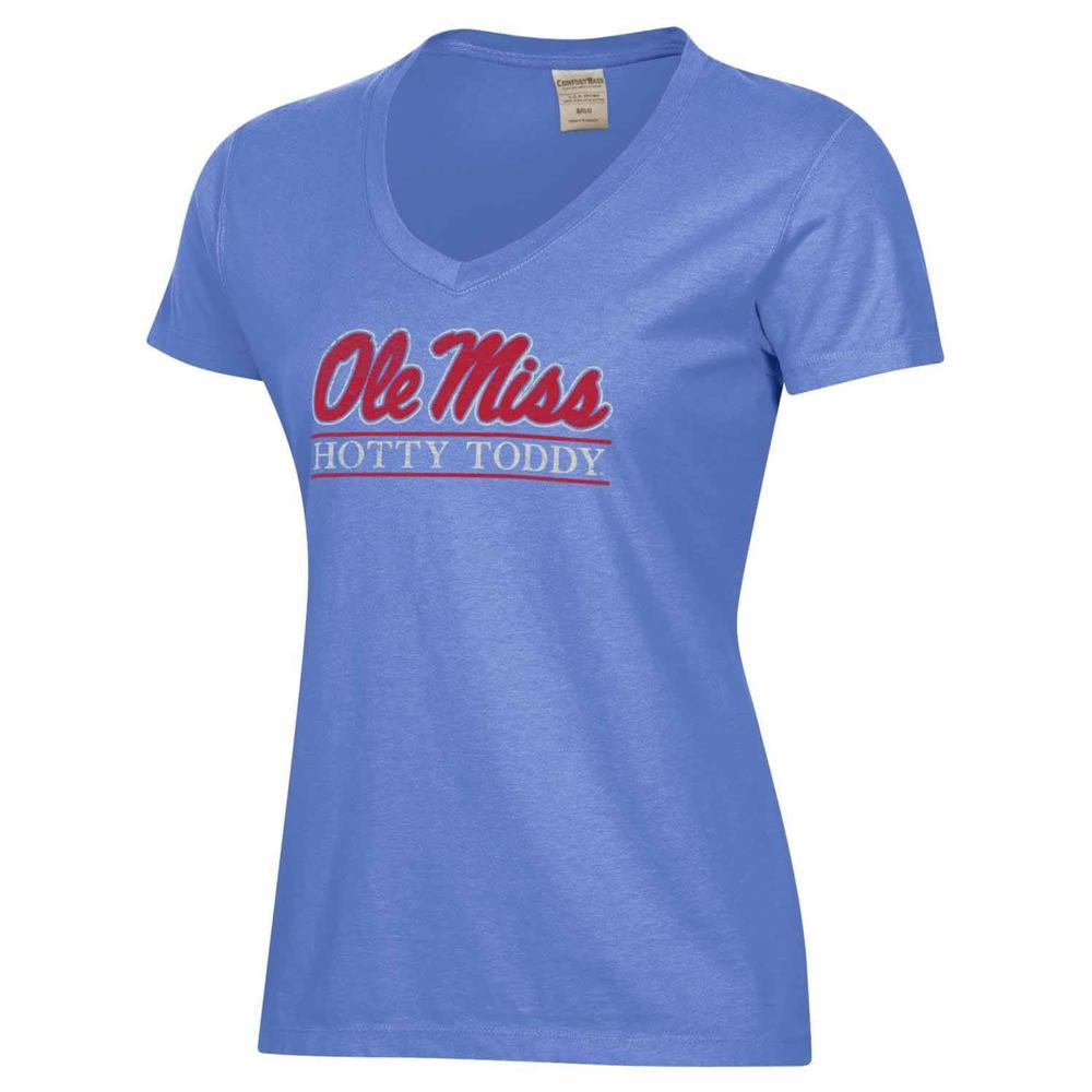 Ole Miss Hotty Toddy Bar Ss Comfort Wash V- Neck Tee
