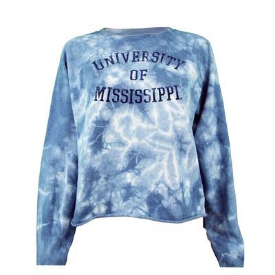 University Of Mississippi Fleece Crop Tiedye Crew