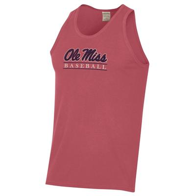 OLE MISS BASEBALL BAR COMFORT WASH TEE TANK CRIMSON_FALL