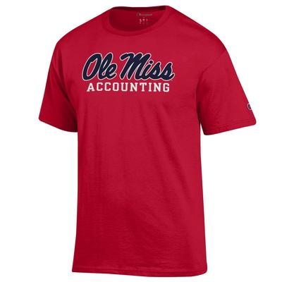 SS SCRIPT OLE MISS ACCOUNTING BASIC TEE SCARLET