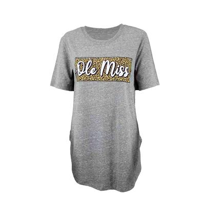 OLE MISS LEOPARD SQUARE KNOBI ROUNDED TEE