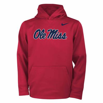 SCRIPT OLE MISS NIKE YOUTH THERMA PO HOODIE RED