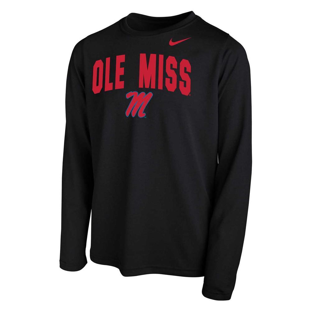 Ole Miss Nike Youth Dri- Fit Legend 2.0 Ls Tee