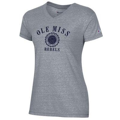 OLE MISS REBELS WOMENS TRI-BLEND V-NECK TEE