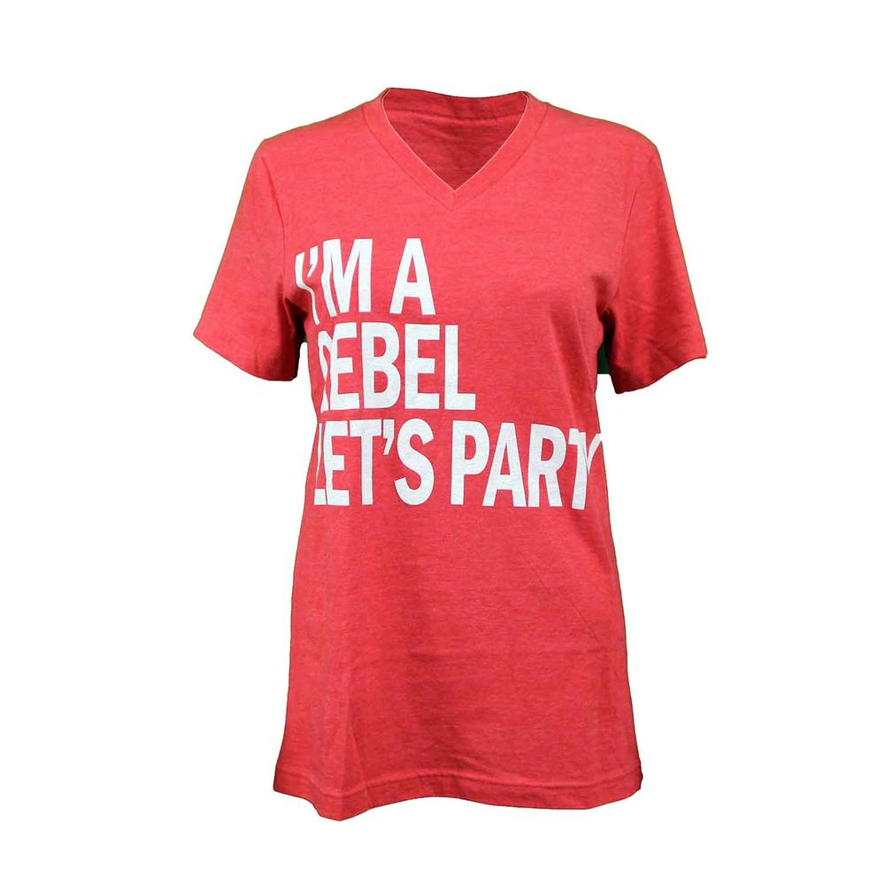 Im A Rebel Lets Party Ss Vneck Tee