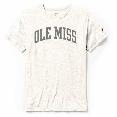 OLE MISS BLOCK ARCHED GHOST PRINT VICTORY FALLS TEE HEATHER_LINEN