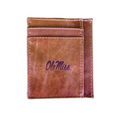 OLE MISS TAN LEATHER EMBOSSED FRONT POCKET WALLET