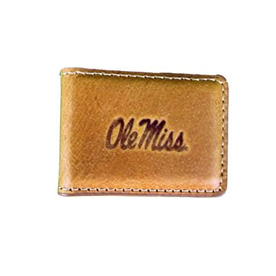 OLE MISS TAN LEATHER EMBOSSED MAGNETIC MONEY CLIP