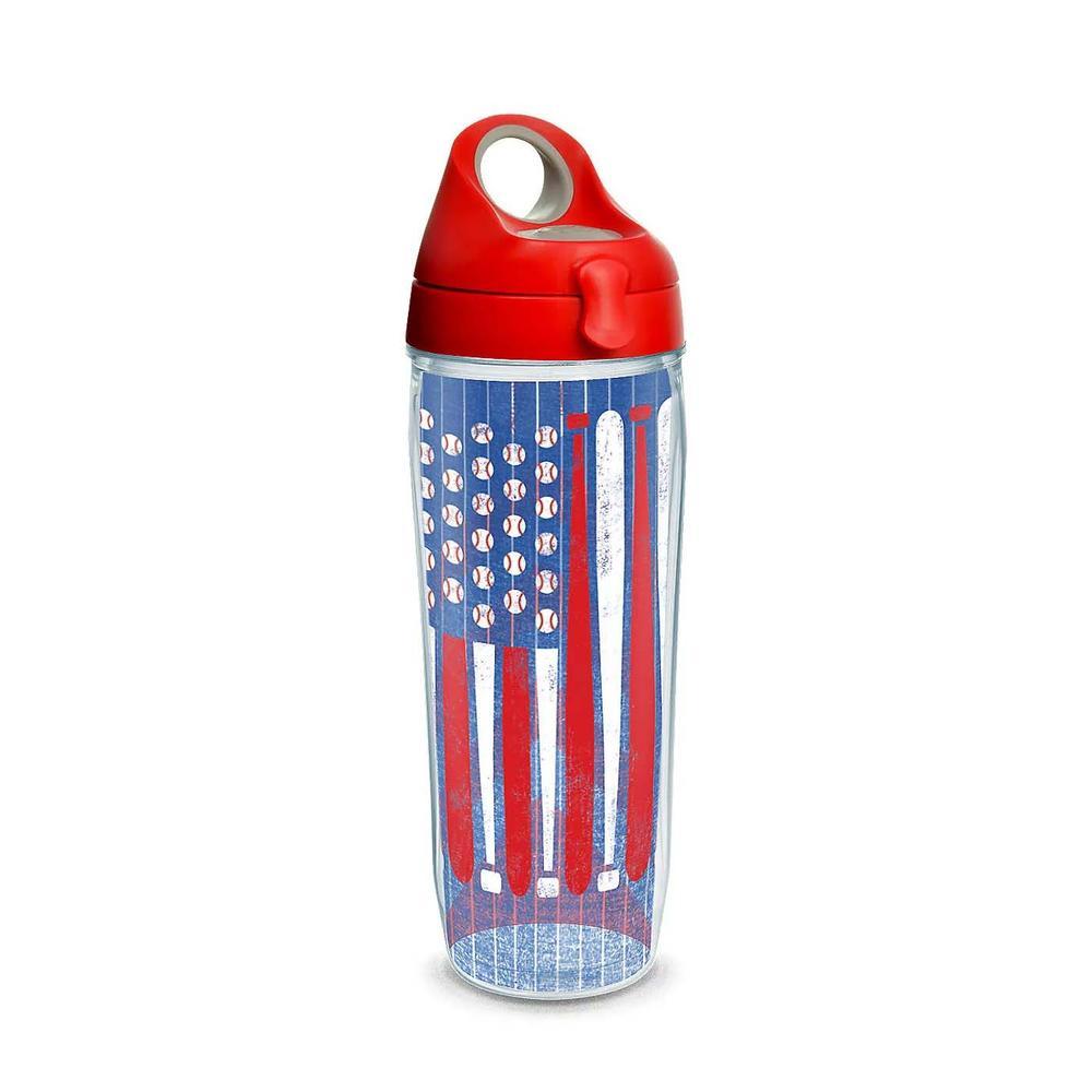 24 Oz Baseball Flag Water Bottle