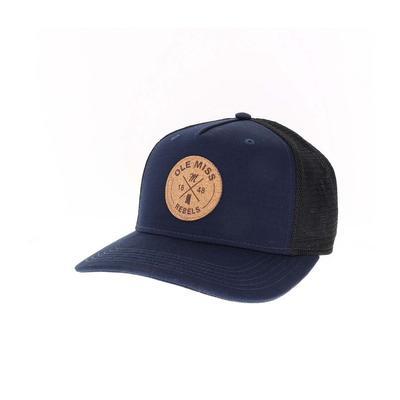 OLE MISS CIRCLE X ENGRAVED CORK ROADIE TRUCKER ADJ CAP